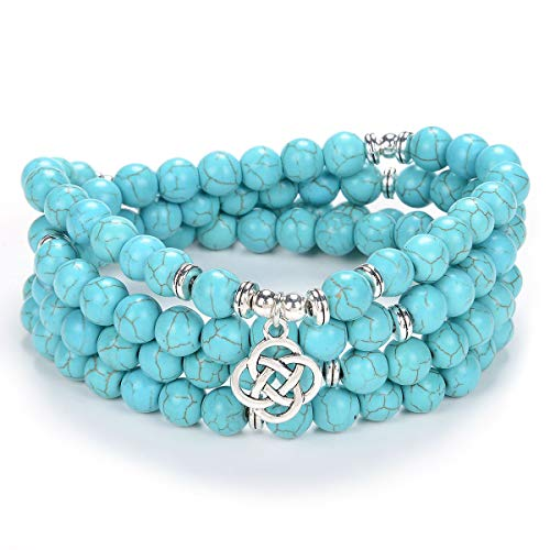 Self-Discovery Celtic Gift Ideas 108 Mala Stone Beads Bracelet Crystal Necklace with Infinity Knot Good Luck Charm (Green Turquoise)
