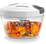 Gourmia GMS9280 Mini Slicer Pull String Manual Food Processor With Bowl & Removable Blade, Durable BPA free food safe material (2 Cup)