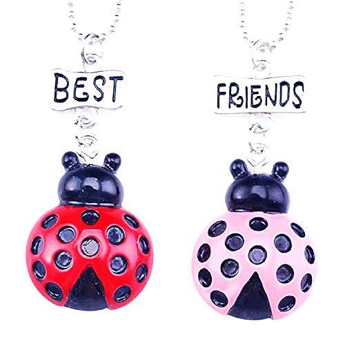Twee meisjes kettingen - vriendschap - kawaii x 2 - beste vrienden voor 2 - paar - bff - geluksbrenger - lieveheersbeestjes - rood en roze - kerstmis - origineel cadeau idee best friends