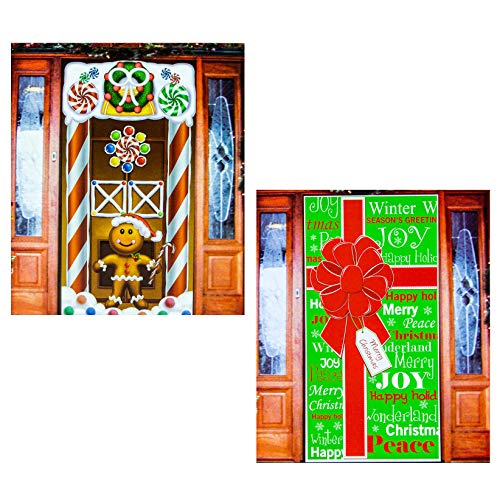 Christmas Door Cover (2 Pack) Holiday Decorations, Giant and Gingerbread Man 30 x 60 Inch