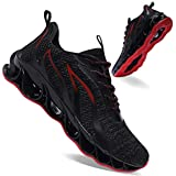 APRILSPRING Men's Running Shoes Casual Walking Sneakers Fashion Workout Athletic Shoe for Men Sport Tennis, Black and Red, 10US 44EU
