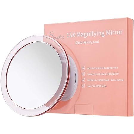 Santoo 15X Grossissant Miroir (Rond de 15cm) - avec 3 ventouses de Montage à Utiliser pour Le Maquillage de détails - Sourcils/pincement/Retrait - Miroir de Maquillage pour Salle de Bain/Voyage