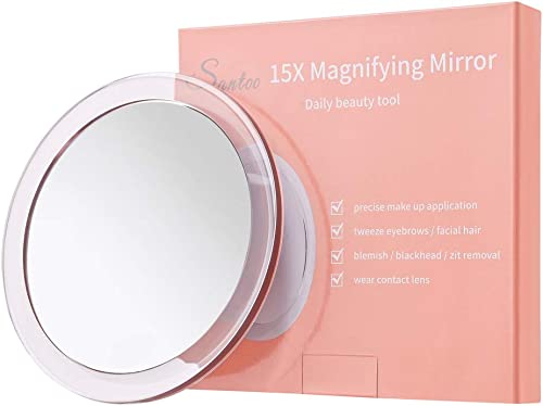 15X Magnifying Mirror (6 inches Round) - with 3 Mounting Suction Cups Used for Precise Makeup Application - Eyebrows/...
