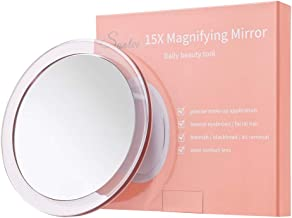 15X Magnifying Mirror - with 3 Mounting Suction Cups - Use for Precise Makeup - Eyebrows/Tweezing - Blackhead/Blemish Removal - Bathroom/Travel Makeup Mirror - 6 Inch Round (Rose Gold)