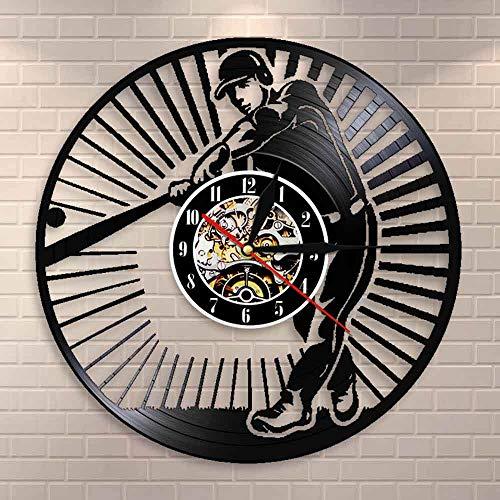 wtnhz LED-Jugador de béisbol Silueta Reloj de Arte de Pared softbol Disco de Vinilo Retro Reloj de Pared Club de softbol Sala de Deportes decoración Regalo de béisbol