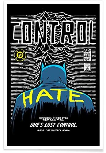 Juniqe® Affiche 80x120cm Pop Art - Design Post-Punk Bat - Control (Format : Portrait) - Poster, Tirages d'art & Tableaux par des Artistes indépendants créé par Butcher Billy