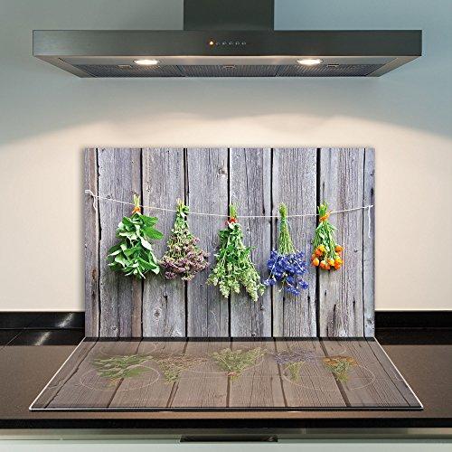 DAMU - Cubierta de vitrocerámica, 1 Pieza, 80 x 52 cm, Placas de Vidrio para Cubrir la vitrocerámica de Flores, Cocina eléctrica de inducción, protección contra Salpicaduras, Placa de Vidrio