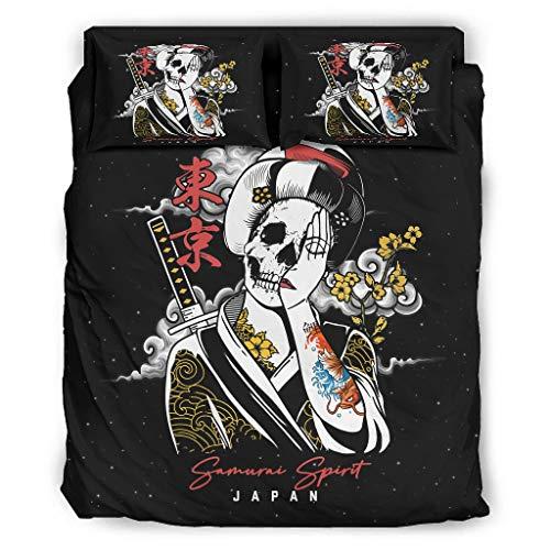 Juego de cama de 4 piezas con diseño japonés de Geisha, calavera samurai, fantasma, con cremallera, incluye 1 funda de edredón y 2 fundas de almohada, color blanco, 240 x 264 cm