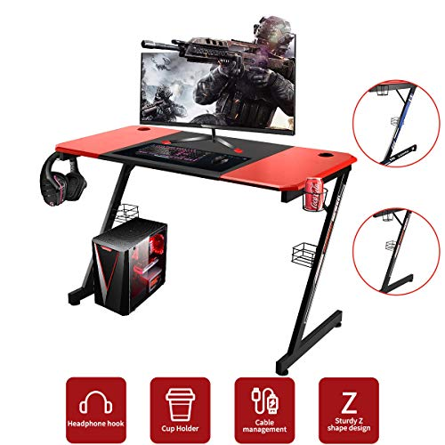 YODOLLA Gaming Desk 47.2' Home Office Computer Table, Gamer Workstation with Cup Holder, Headphone Hook & 2 Cable Management Holes(with 2 Types Sticker)