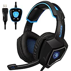 powerful Newly updated PC gaming USB headset with SADES Spirit Wolf 7.1 surround stereo sound …