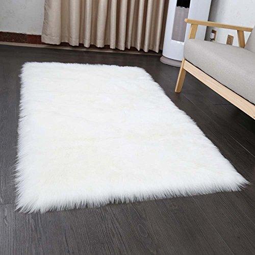 Cumay Faux tappetto di pelle di pecora tappeto , 60x90 cm, imitazione lana, adatto per tappeto per soggiorno, lunga pelliccia morbida, soffice, tappetino per il letto, divano (bianco, 60 x 90 cm)