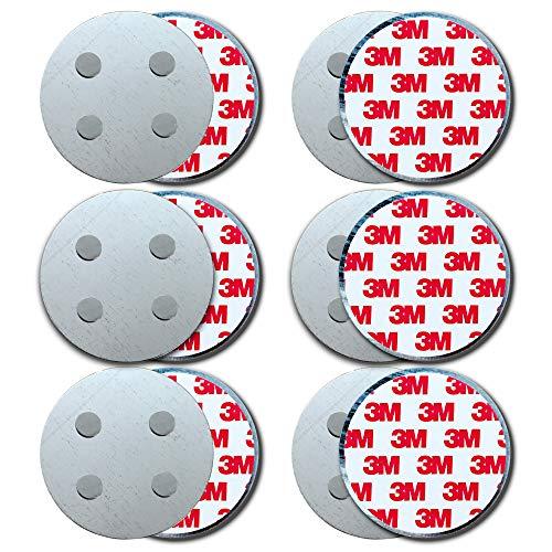 HaftPlus - [6 Stück] Rauchmelder-Magnethalter Ø 70mm, mit 4 extra starken Neodym-Magneten, selbstklebendes 3M Tape für alle Rauch und CO Melder, ohne Bohren für alle Wände und Decken