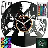 Liverpool Rock Band RGB LED Pilot Reloj de pared para mando a distancia, disco de vinilo moderno decorativo para regalo de cumpleaños