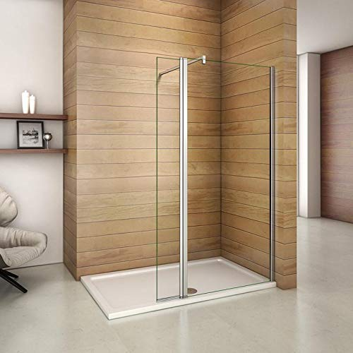 Aica parete per doccia walk-in 70cm munita di paretina mobile 30cm e barra stabilizzatrice tagliabile 90cm
