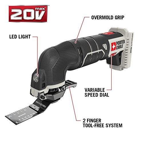 PORTER-CABLE 20V MAX Oscillating Tool with 11-Piece Accessories, Tool Only (PCC710B)
