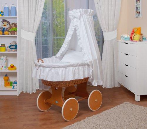 WALDIN Landau/berceau bébé complet,24 modèles disponibles,Cadre/Roues blanc laqué,couleur du tissu rose/blanc