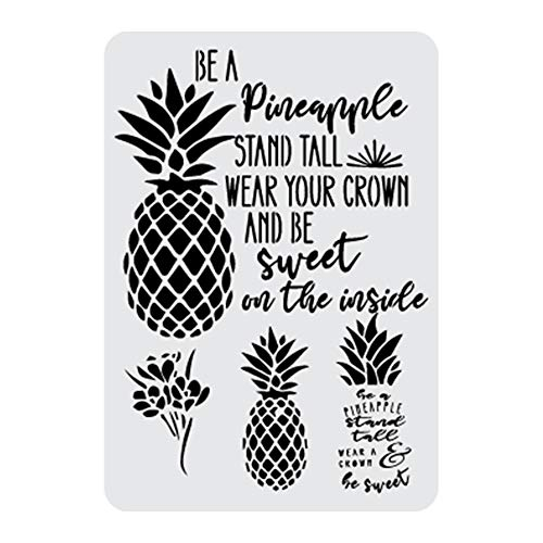Hawaii Pineapple Inspirational Quotes Stencil, 12 x 8 Inches | Decorating and Crafting Food Safe Stencils from Bakell