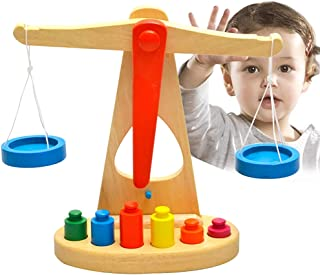 YHomU Wood Early Childhood Education Babies Balance Scale Toy Set Wooden Developmental Interactive Fun Preschool Toy for C...