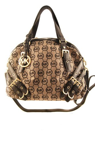 """Signature MK logo fabric and leather Lined Zip top closure Inside zip and slip pockets Hanging MK logo Golden hardware Buckle hardware Double handles 6 1/2"""" handle drop 13 1/2""""L x 11""""H x 4""""W"""
