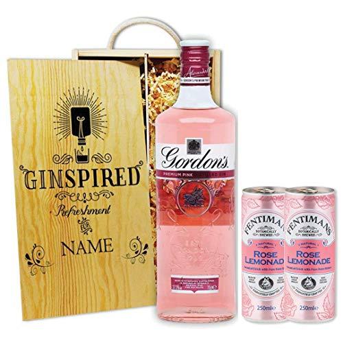 Personalised Premium Distilled Gordon's Pink Gin Gift Set Hamper with Fentimans Rose Lemonade - Perfect Present for Valentines Day, Mother's Day, Birthdays, Anniversaries