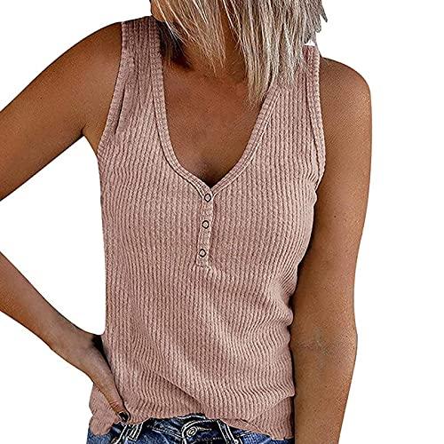 Hotar Chaleco para mujer con botones, cuello en V, monocolor, camiseta sin mangas, top de ajuste perfecto, pantalones cortos para el verano
