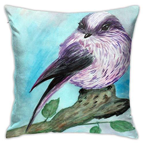 EU Lilac Bird Decorative Throw Pillow Cover Hidden Zipper Closure Cushion Case Bedroom Car Chair House Party 18 X 18 Inch