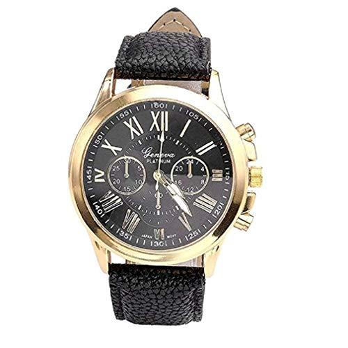 Kaitoly Fashion Watch! Damenuhr, modisch, modisch, römische Ziffern, Kunstleder, analog, Quarz-Armbanduhr, Schwarz