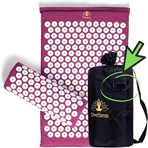 Pro Yama Set mit Akupressurmatte, Massagekissen und Tragetasche – Yoga/Fitness im Garten/zu Hause oder im Freien - Massagematte mit Nadelkreisen und Kunststoffspitzen für Ganzkörpermassage violett