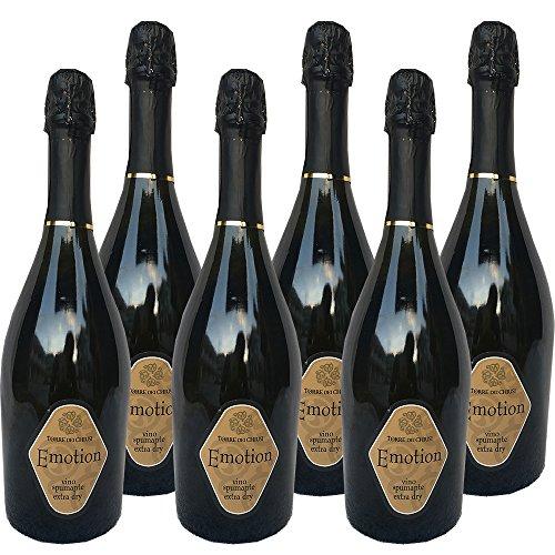 Vino Spumante Extra Dry   Emotion Torre dei Chiusi   Spumante Italiano   Eccellenza Campana   Confezione da 6 Bottiglie da 75 Cl   Sapori Mediterranei
