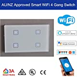 AU/NZ Standard Smart WiFi 4 Gang Light Switch for Normal Lights Home Automation