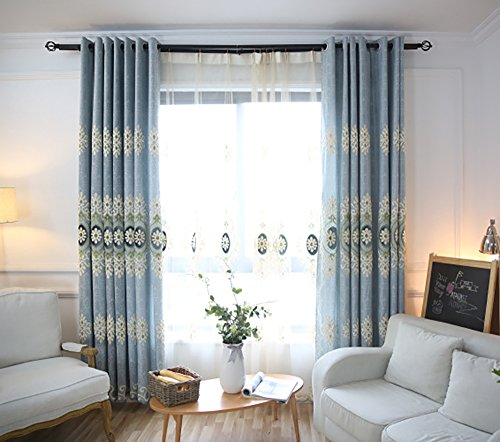 VOGOL Customized Simple Chenille Jacquard Blackout Window Elegance Curtains/Drapes/Panels/Treatments for Bedroom Living Room,Top Grommets (2 Panels)