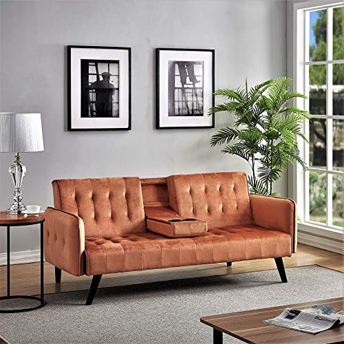 US Pride Furniture Round Arms Bed, Modern Sleeper Sofa with 2 Cup Holders, Orange Sofabed, Cocoa Brown