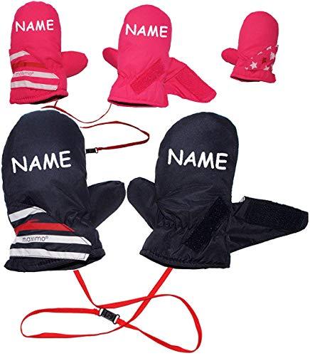 Fausthandschuhe / Fäustlinge - Größen: 4 bis 5 Jahre -  Sterne & Streifen - rosa / pink  - incl. Name - mit langem Schaft + Klettverschluß / LEICHT anzuzieh..