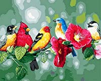 数字油絵数字キット塗り絵 手塗りパッケージは、初心者と大人がキャンバスに番号でペイントすることを目的。-木の枝-40x50cm(額入り)