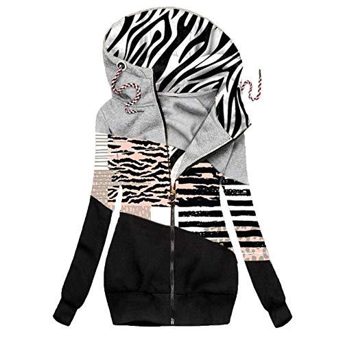 Women Jacket Leopard Color Block Striped Hoodies Drawstring Long Sleeve Coat Casual Loose Cardigans Tops Black