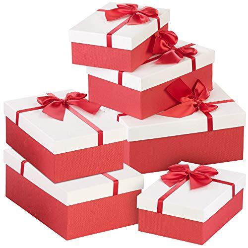 Your Design Geschenkboxen: 6er-Set edle Geschenk-Boxen mit roter Schleife, 3 Verschiedene Größen (Geschenkschachtel)
