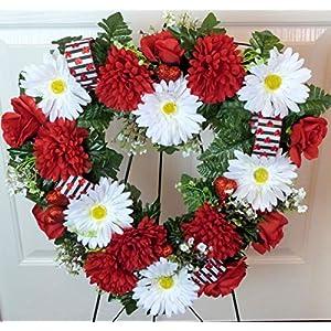 Silk Florals & Frills Valentine Grave Wreath, Heart Cemetery Wreath, Heart Cemetery Wreath with Red Mums