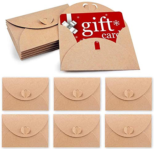 HAKACC 100 Stück Herz Briefumschläge, Mini Briefumschläge Kraftpapier Umschläge mit Herz Verschluss für Weihnachten Valentinstag Geschenkkarten