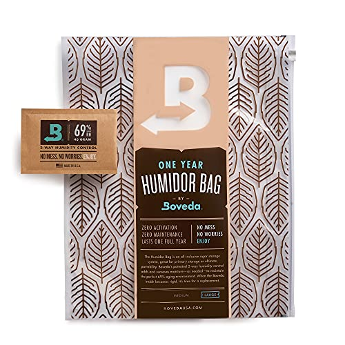 Boveda for Cigars | Large Humidor Bag | Preloaded with 69% RH 2-Way Humidity Control | Cigar Storage for 60-80 Cigars | 1-Count