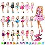 Miunana 60 Stück Kleider, 20 Kleidung +20 Paar Schuhe + 20 Kleiderbügel, Röcke Puppenzubehör Outfit für 11,5 Zoll Mädchen Puppen -
