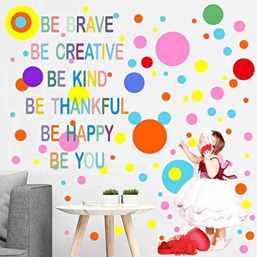 MicButty Adesivo da parete a pois, 264 pezzi, con pois colorati, frasi arcobaleno, decorazione da parete per ragazzi e ragazze, per la cameretta dei bambini, la scuola e la sala dei giochi