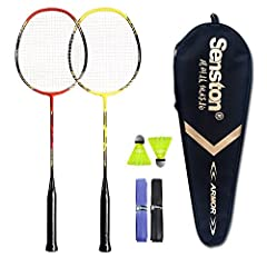 ★ PACKAGE INCLUDES ★ 1 Badminton Bag; 2 Badminton Rackets; 2 Nylon Badminton; 2 Random Color Overgrip (Badminton racquet has the Stringing about 20lbs) ★ HIGH QUALITY ★ The racket has SOLID construction with ONE-PIECE design outside and built-in T-jo...
