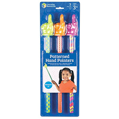 Learning Resources Patterned Hand Pointers, Homeschool, Classroom Helper, Assorted Colors, Set of 3, Ages 3+