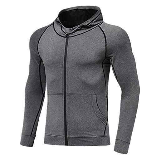 N\P Chaqueta transpirable y de secado rápido con capucha para hombre con cremallera, chaqueta de fitness, para entrenamiento, gimnasio, equitación al aire libre