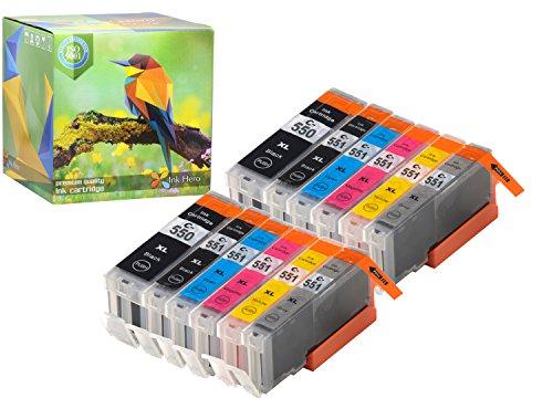 Cartuccia d'inchiostro Ink Hero compatibile in sostituzione dir Canon 551XL, 550XL (Pigmento nero, Nero, Ciano, Magenta, Giallo, Grigio, confezione da 12)