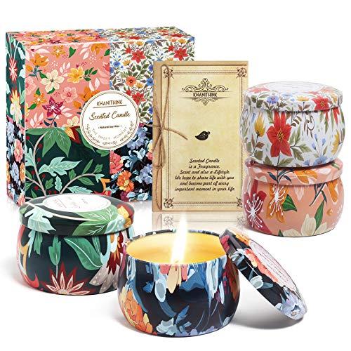 KWANITHINK Velas Aromaticas, Cera de Soja 100% Natural Velas Aromaticas Para Regalo, Regalos para Madres Yoga Baño Dormitorio, Portátil (Flor profunda)