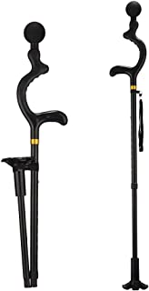 Folding Cane, LIXIANG, 5-Level Foldable Walking Cane for Men Women Fold-up Collapsible Lightweight Adjustable Portable Hand Walking Stick - Balancing Mobility Aid - Sleek Comfortable T Handles (black)