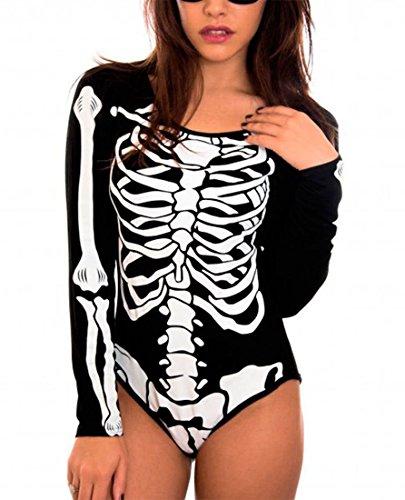Body femme fantaisie, représentant un squelette - Pour fêtes d'Halloween - Noir - Taille unique (taille petit)