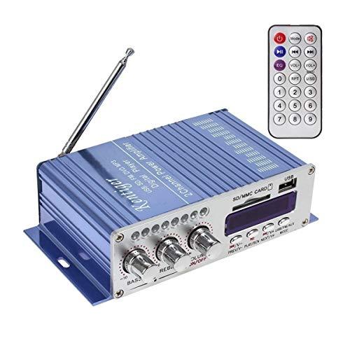 DollaTek 12V Mini HI-Fi Digital Stereo Audio Verstärker USB SD DVD FM Audio Stereo Radio MP3 Lautsprecher-Auto-Bluetooth-Verstärker 2-Kanal-Digital-Display Power Player - Blau