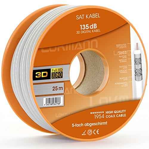25 meter 135 dB coaxkabel, SAT-kabel, coax, antennekabel, satellietkabel voor DVB-S / S2 DVB-C en DVB-T BK systemen 3D / Ultra Full HD 4 k/8k en opwaarts